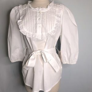 Love Stitch Ruffled White Top/Blouse Size L